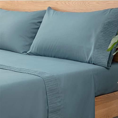 Bedsure Juego de Sábanas 90x190/200 cm - 3 Piezas - Sábana Bajera Ajustable Cama 90 con Encimera 160x275cm 1 Funda de Almohada 50x80cm - Azul Grisáseo
