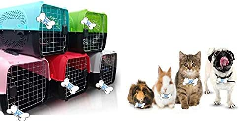 The DDS Store Pet Travel Carrier Dog Cat Rabbit Basket Plastic Handle Hinged Door Folding Collapsible Transport Box C...