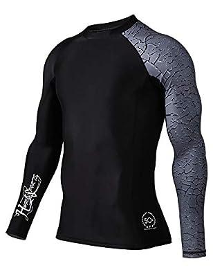 HUGE SPORTS Men's Splice UV Sun Protection UPF 50+ Skins Rash Guard Long Sleeves (Chapped, S)