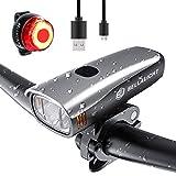 BELLALICHT Juego de luces LED para bicicleta (60 lux, 2 modos, carga USB, 2600 mAh, iones de litio, parte delantera y trasera, resistencia al agua IPX5)