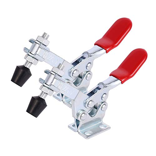 2 Pack GH-225D Horizontal Fixture Series Hand Tools Toggle Clamp Latch Holding Capacity 500Lbs Red Antislip Clamp,Quick Release and Fast Fix Toggle Clamp Tool