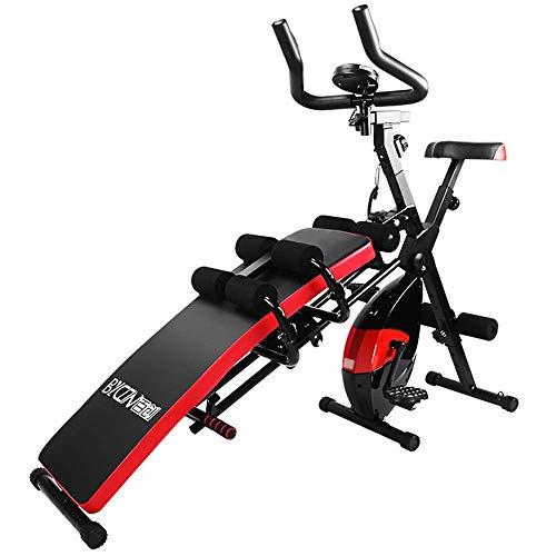 WJSW Heimtrainer Fitness-Stuhl Hantelbank 7 in 1 kombinierte Fitness-Maschine Verstellbarer Sitz, stationäres Fahrrad für Heim-Fitnessstudio