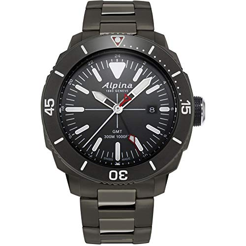 Alpina Seastrong Diver GMT Herren-Armbanduhr 44mm Batterie AL-247LGG4TV6B