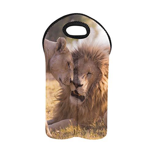 Weintragesack Große Gruppe afrikanischer Tiere zusammen Weinflaschentasche Doppelflaschenträger Schnaps-Tragetasche Dicker Neopren Weinflaschenhalter hält Flaschen geschützt