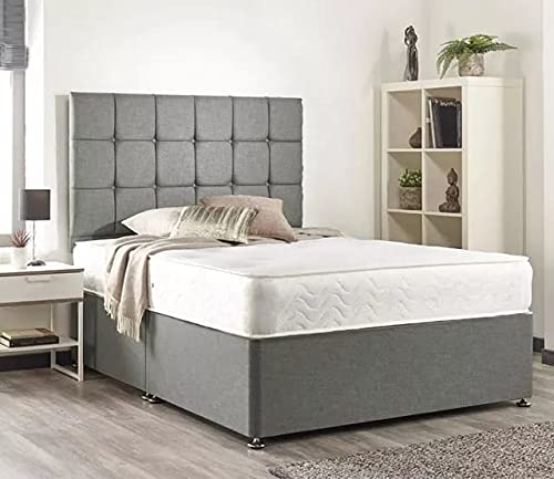 Night Night Beds- Luxury Grey Linen Divan Base with with 20inch Headboard & amp Mattress (Double W: 135cm L: 190cm)