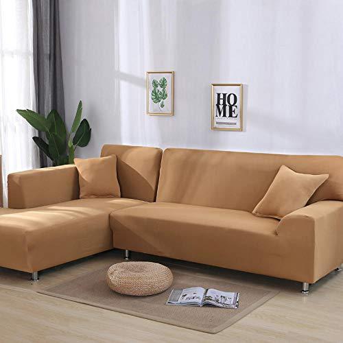 Gramke Funda de sofá elástica de Color sólido Spandex Sofá esquinero Moderno de poliéster Funda Protectora para Silla en Forma de L Necesita 2 piezas-H13Y0006-tan_3-Seater 190-230cm