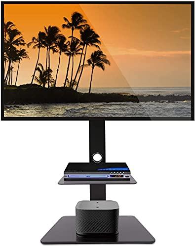 FLEXIMOUNTS TS01 Supporto TV da Pavimento per Schermo Piatto da 32-65 Pollici Girevole Altezza Regolabile a 3 Livelli per LCD LED