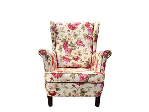 all4all Ohrensessel ohne Hocker ROSA Sessel Ohrenbackensessel Polstersessel Skandinavischer Stil Relaxliege Relaxsessel Chesterfield ideal für Relax