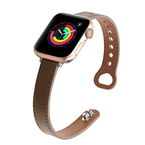 Mersidany Correa de Cuero Delgado para Mujer para Apple Watch Series 6 5 4 3 2 1 iWatch SE 38mm 40mm 42mm 44mm (38/40mm,A)