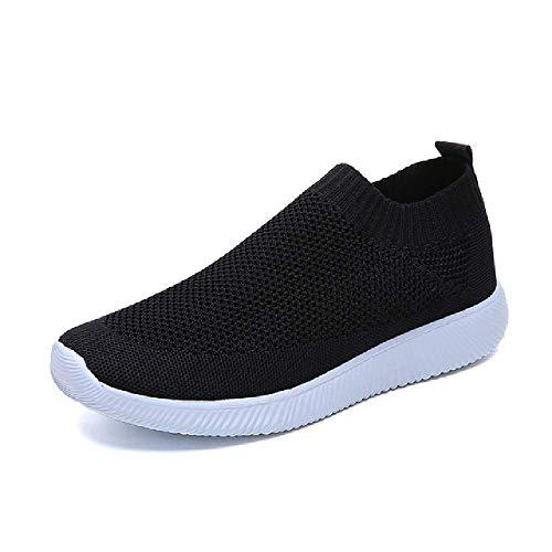 Atmungsaktive Air-Mesh-Sneaker für Damen, Übergröße, für Frühling und Sommer, Slip-On-Plattform, gestrickt, flache Schuhe, weiche Wanderschuhe für Damen, - 831 schwarz - Größe: 38 EU