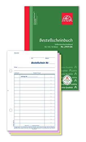 Omega Formulario de pedido SD A5 / alto 3 x 50 hojas de papel consecuencia, blanco/rosa/amarillo
