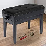 Adjustable Piano Bench Wooden Piano Stool with Music Storage & Height Adjustable-PU Leather and Solid Wood (Black with Music Storage)