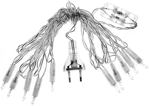 Glorex 6 1210 425 - Minilichterkette weiß, 10 Lämpchen mit Schalter, linear