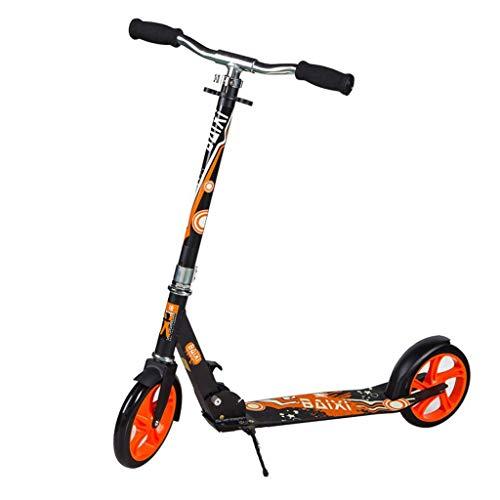 GTYMFH Scooter de pie Pro Truco Scooters Freestyle instantánea Fold for Llevar a Cabo portátil Ligero con Altura Ajustable Adultos Cuentos for niños Adolescentes Scooter de Ciudad (Color : Orange)