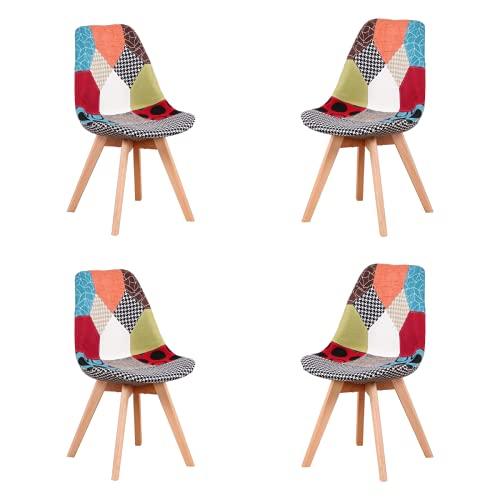 Silla de comedor ergonómica simple de algodón y lino patchwork de madera maciza cojín para cocina, sala de estar, oficina, juego de 4 (rojo, 4)