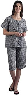 Gemmy Days Womens Check Pajama Set Embroidery/Size L/Black. Soft Poly-Cotton Fabric.