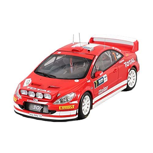 GAOQUN-TOY 1: 18 Peugeot 307 WRC 2005# 7, modèle de Voiture en Alliage Rouge (Couleur : Red, Taille : 24cm*11cm)