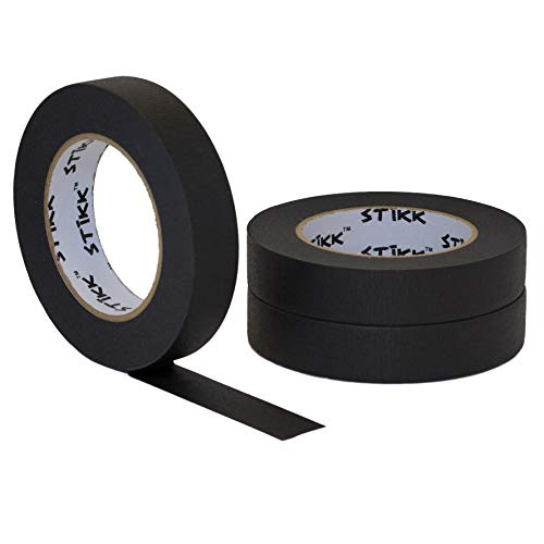 """3 pk 1"""" inch x 60yd STIKK Black Painters Tape 14 Day Easy Removal Trim Edge Finishing Decorative Marking Masking Tape (.94 IN 24MM)"""