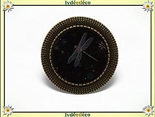 Anello retro resina Libellule nero grigio regolabile rotondo 20mm ottone bronzo regalo personalizzato noel amico festa del...