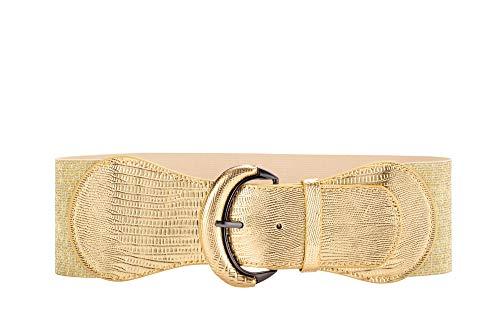 WODISON WODISO Damen PU Leder Taillengürtel Breiter Gürtel Elastischer für Kleid, S(25 inches-31 inches), Gold