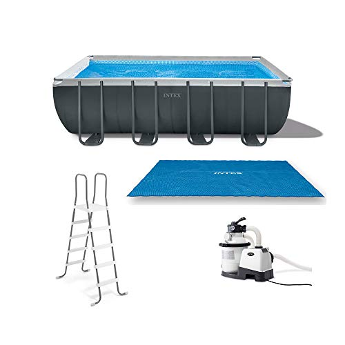 Intex 26355EH Ultra 18ft x 9ft x 52in Ultra XTR Rectangular Frame Pool with Solar Cover, Ladder, Ground Cloth, and 120V 1,200 GPH Sand Filter Pump