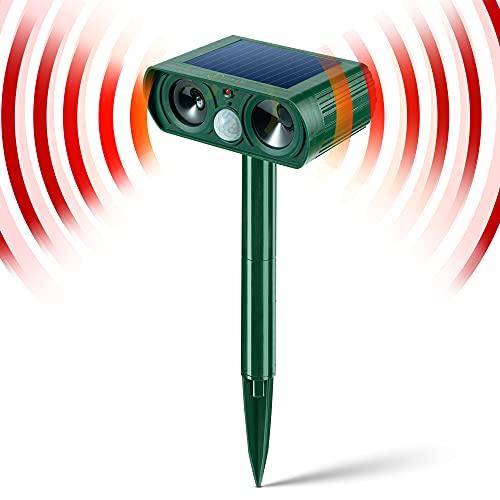 JIA LE Solar Animal Repeller, Ultrasonic Animal Repeller Waterproof with Motion Detector& Flashing Light, Dog, Cat Repellent, Squirrel, Raccoon, Skunk, Rat, Mole (VX)