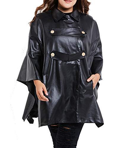 Dames Leren Jack, Oversized Cape-Style Zwarte Motorjas Zacht en Comfortabel PU Lederen Jack, Perfect Body, Perfect Jas voor Vette Vrouwen