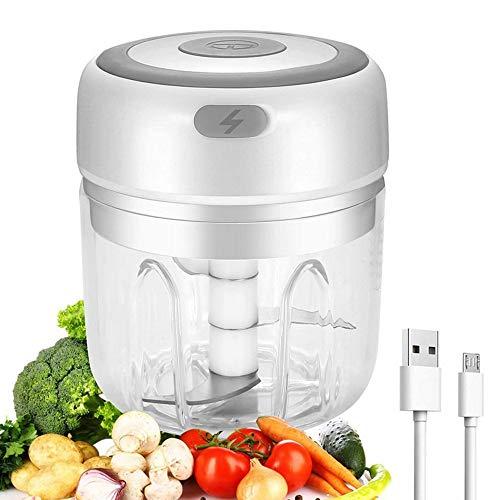 Mini picadora eléctrica, picadora de cocina eléctrica, 250 ml, picadora de ajo, rectificadora inalámbrica portátil para frutas, cebollas, nueces, ajos