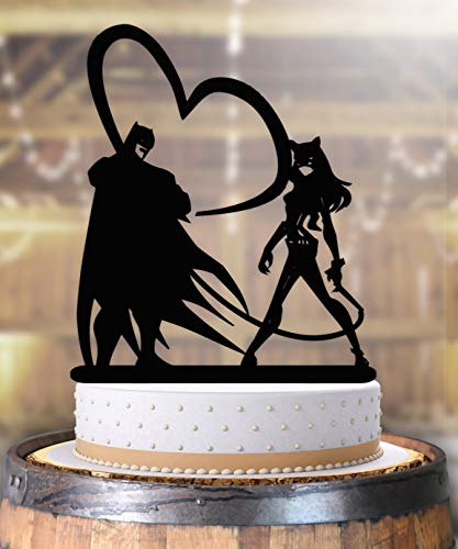 Batman Catwoman Super Hero Comic Book Wedding Cake Topper