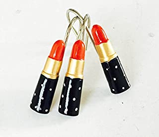 12PCS Twofishes Home Fashion Decorative Lipsticks Red Resin Shower Curtain Hooks Lip Rings for Living Room Bedroom Bathroom