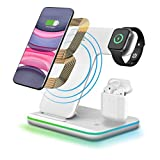 3 in 1 Wireless Charging Dock,CNSL 15W Fast Wireless Charge Stand,Touch Sensor LED Light Charger Station for Airpods/Airdots/iWatch,iPhone X/XS/XR/Max/8/8 Plus and Other Qi-Enabled Phones(White)