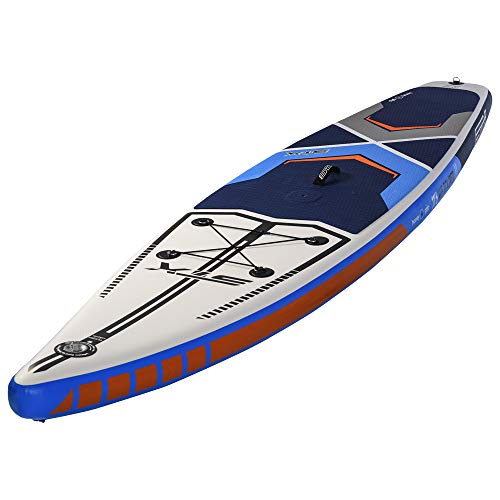 STX SUP - 11';6 x 32 Touring Windsurf Edition Aufblasbares Stand Up Paddle Board, Paddel, Tasche, Pump & Leash/Strap Blau