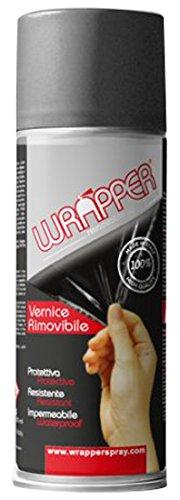 Quattroerre 16451 Wrapper Spray Vernici Rimovibili Tinta Metallizzata, Grigio Titanio