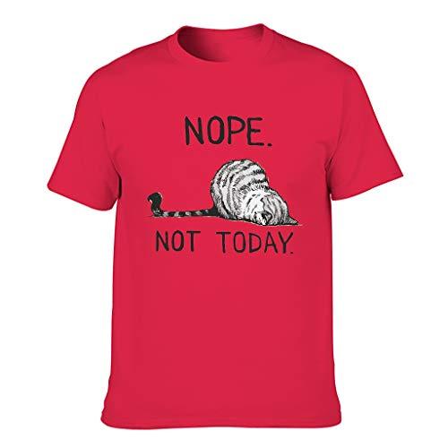 T-shirt sportiva da uomo con grafica vintage, con gatto e nope, stampa divertente Rosso1 L