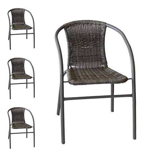 Wohaga 4er Set Bistrostuhl-Set stapelbar, Polyrattanbespannung Grau, pulverbeschichtetes Metallgestell Grau