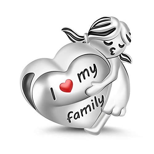 GNOCE 925 Sterling Silber Handgestempelten Wörtern Charm Anhänger Kleines Mädchen Umarmen eine Herzform Charms Anhänger für Armbänder Halsketten Ich liebe meine Familie