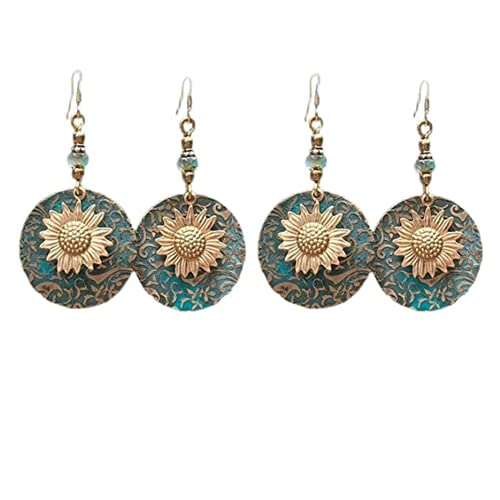 Retro Bohemian Separation Double Sunflower Pattern Earrings,2 Pair Sunflower Dangle Earrings,Suitable for girls to give to their mothers, girlfriends are a good choice