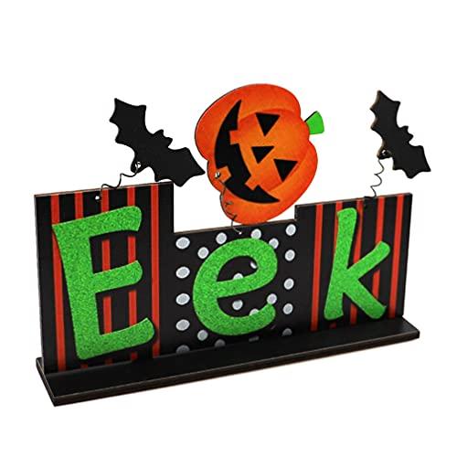 ABOOFAN Decoración de Mesa de Madera de Halloween Truco O Trato Señal de Mesa Eek con Palo Calabaza Mesa Centro DE Mesa Decoración de Mesa de Halloween