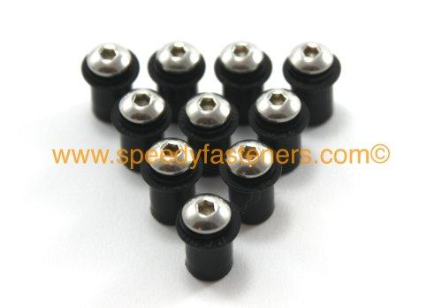 Speedy Fasteners Set di 10 bulloni per parabrezza di moto M5, con rondelle e dadi di fissaggio inclusi