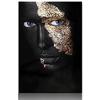 エジプトの装飾クイーンアートワークアフリカの芸術キャンバスに黒と金の女性油絵クアドロスのポスターと版画北欧の壁のアート画像リビングルームベッドルームの装飾、フレームなし,Style 5,20x28inch