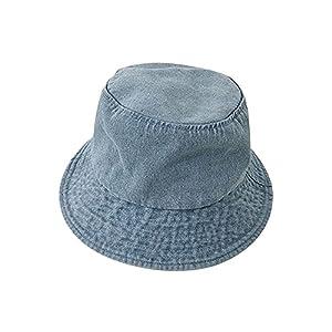 バケットハット メンズ レディース ハット 帽子 コットン デニム UVカット 折り畳み カジュアル デニム B ライトブルー