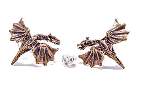 WINDALF Große Ohrstecker DRACHENKÖNIGIN 2 cm Drachenschmuck Vintage Drachen Ohrringe Hochwertige Bronze