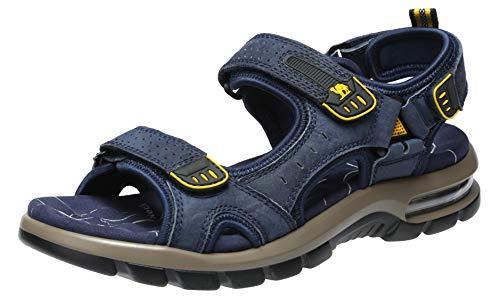 CAMEL CROWN Herren Sandalen Outdoor Trekkingsandalen Leder Leichte Wandersandalen Männer Sommer Offroad Sandale mit Klettverschluss Waterproof
