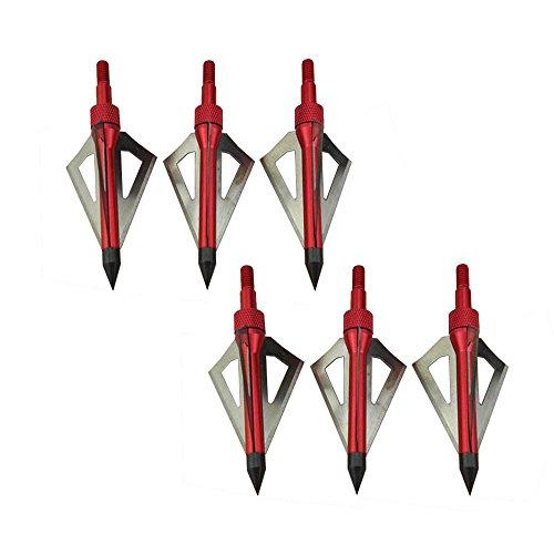 SHARROW 12pcs Pfeilspitzen Jagdspitzen 100 Grains mit 3 Klingen für Bogen Armbrust Broadheads (Rot)