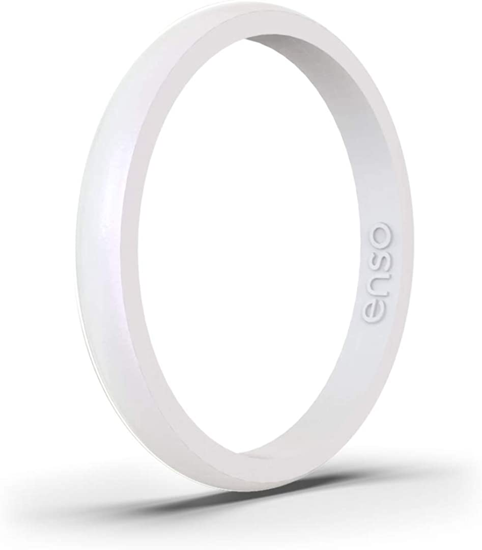 Enso Rings Halo Birthstone Silicone Ring – Minimalist Stackable Wedding Engagement Band – – 2.54mm Wide, 1.5mm Thick