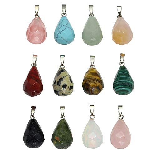 Jovivi joyería Juego de 12pcs Colgantes Pendientes para Bolsa Collar DIY de Piedra Chakra Naturales Gema Charm y Cristal,, Gotas de Agua