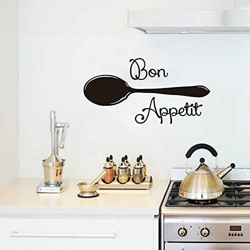 SLQUIET DIY moderne aufkleber esszimmer küche großen löffel wandtattoos wohnkultur wasserdicht abnehmbare wanddekor kunstwerk-in Wand Stickers57cm X 24cm