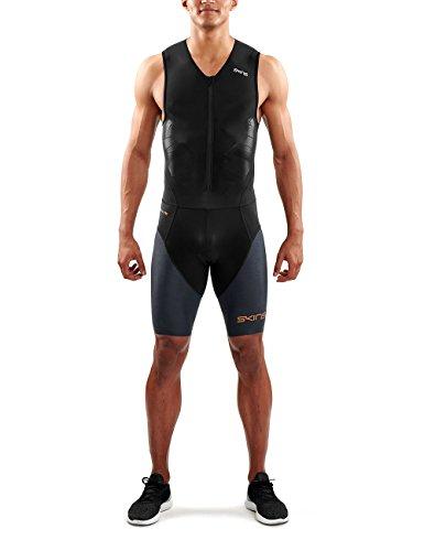 SKINS DNAmic Triathlon Homme Combinaison avec Zip Avant Noir/Carbon S Triathlon Suit Homme Noir/Carbon FR : S (Taille Fabricant : S)
