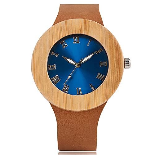 UIOXAIE Reloj de Madera Fashion Design Nature Relojes de Madera para Mujer con Correa de Cuero Genuino Reloj de Pulsera de Madera Hecho a Mano para Hombre, Azul