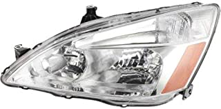 Headlight Headlamp Compatible with 2003-2007 Honda Accord Chrome Housing Clear Lens Driver Left Side Replacement